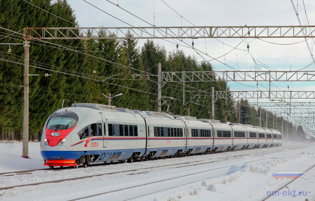 Электропоезд ЭВС1-06 «Сапсан» проследует станцию Шлюз