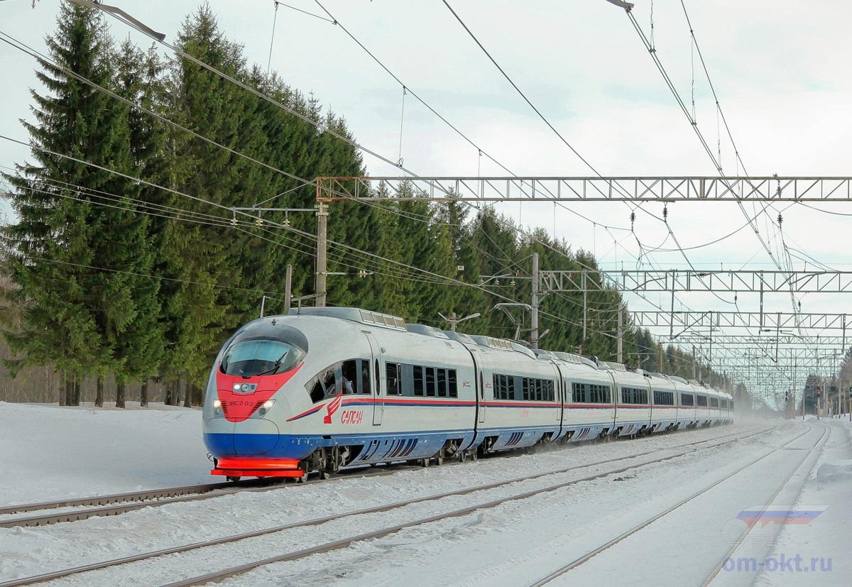 Электропоезд ЭВС2-02 «Сапсан» проследует станцию Шлюз