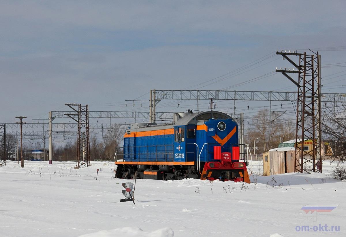 Тепловоз ТЭМ2-7034 на станции Лихославль