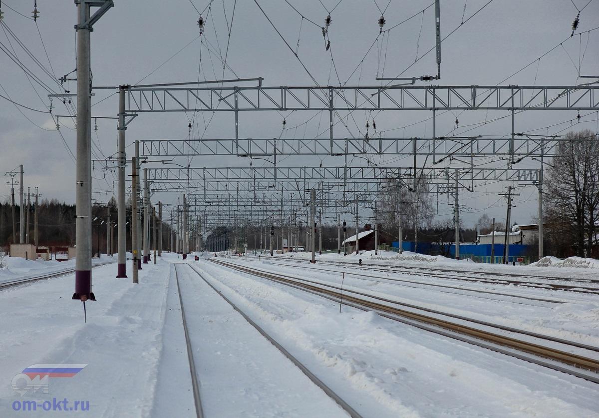 Вид от станции Лихославль в сторону Шлюза