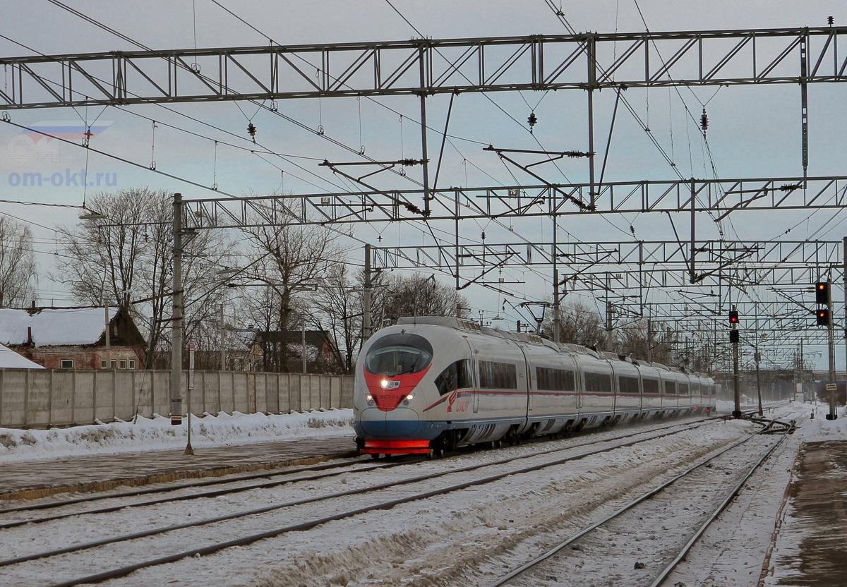 Электропоезд ЭВС2-04 «Сапсан» проследует станцию Лихославль