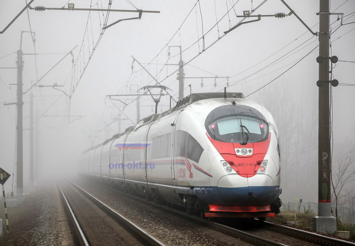 Электропоезд ЭВС1-09 «Сапсан» проследует платформу Стреглово, перегон Подсолнечная - Клин