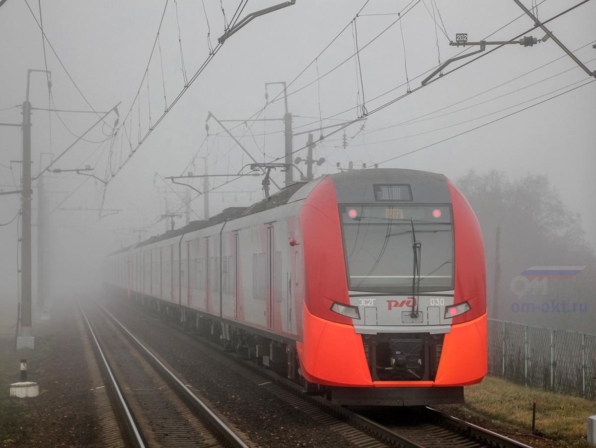 Сдвоенный электропоезд ЭС2Г-030 «Ласточка» проследует платформу Фроловское, перегон Подсолнечная - Клин