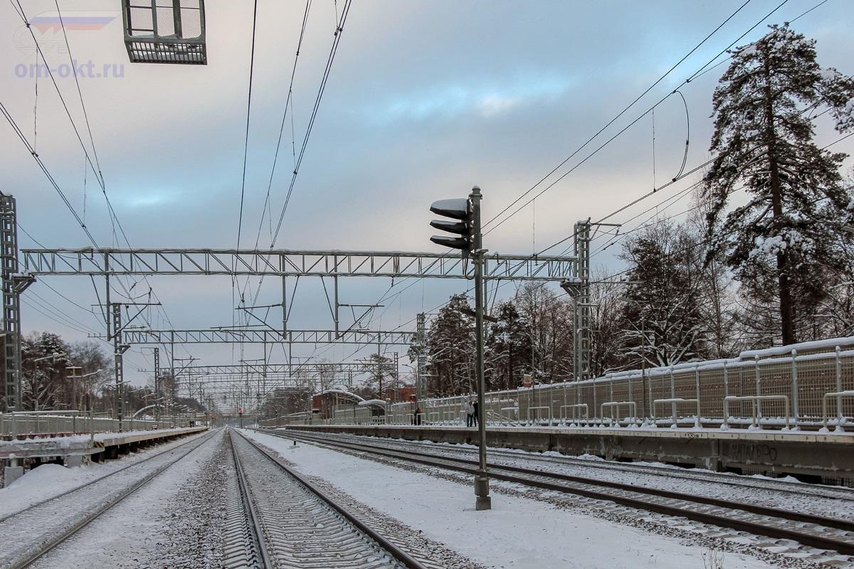 Вид на остановочный пункт Фирсановская со стороны платформы Малино