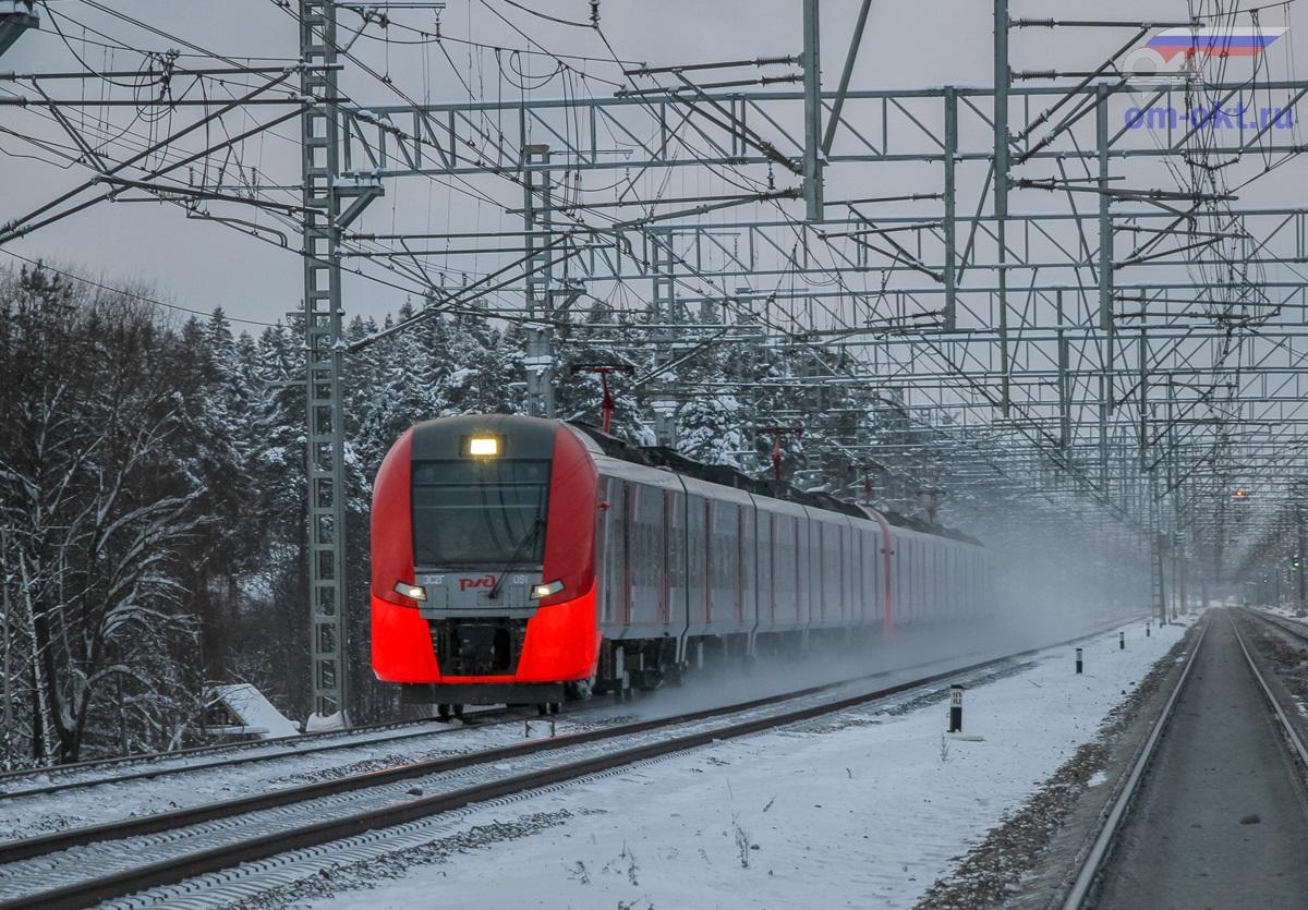 Сдвоенный электропоезд ЭС2Г-091 «Ласточка» прибывает к платформе Фирсановская, перегон Крюково - Сходня