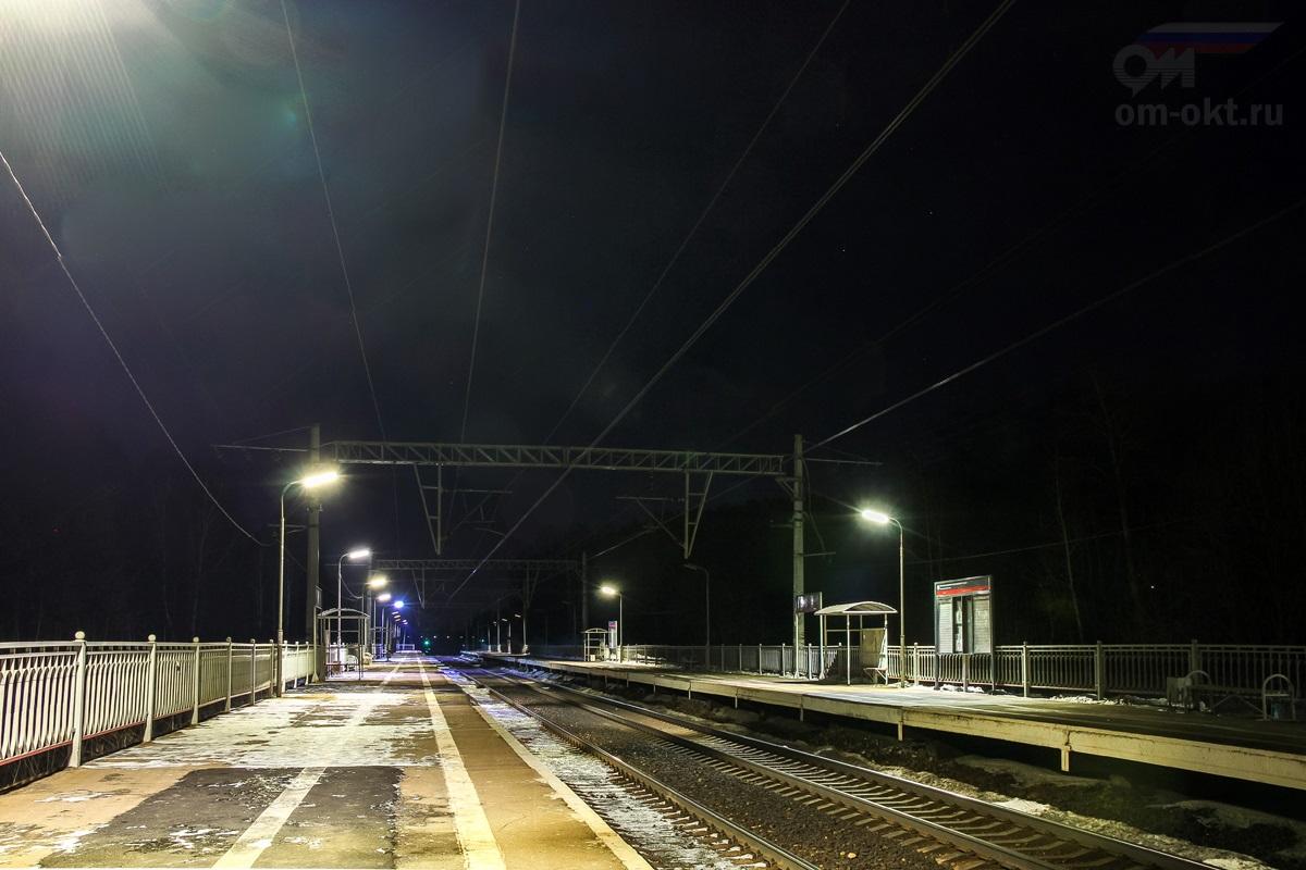Вид на платформу Берёзки-Дачные со стороны станции Подсолнечная