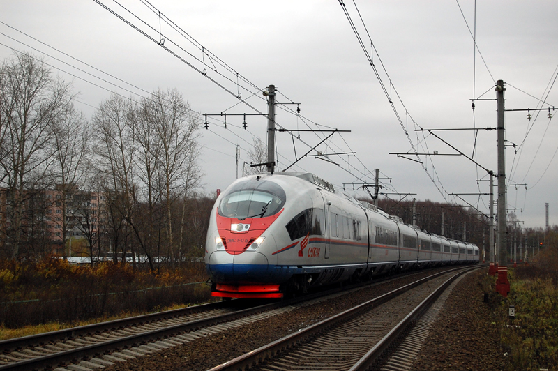 Электропоезд ЭВС1-08 «Сапсан» на перегоне Дорошиха - Лихославль
