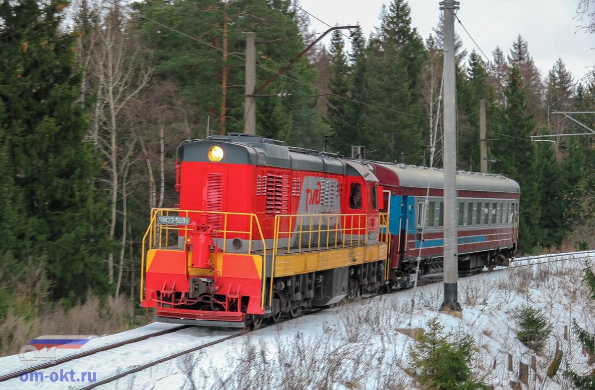 Тепловоз ЧМЭ3-6558 с вагоном-путемером на соединительной ветви Поварово-III - Поварово-I
