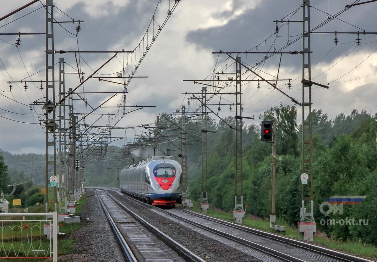 Электропоезд ЭВС2-01 «Сапсан» на перегоне Дорошиха - Лихославль