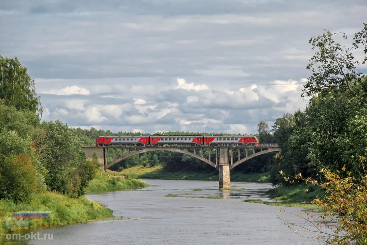 Дизель-электропоезд ДТ1-004 на перегоне Зарубинская - Топорок