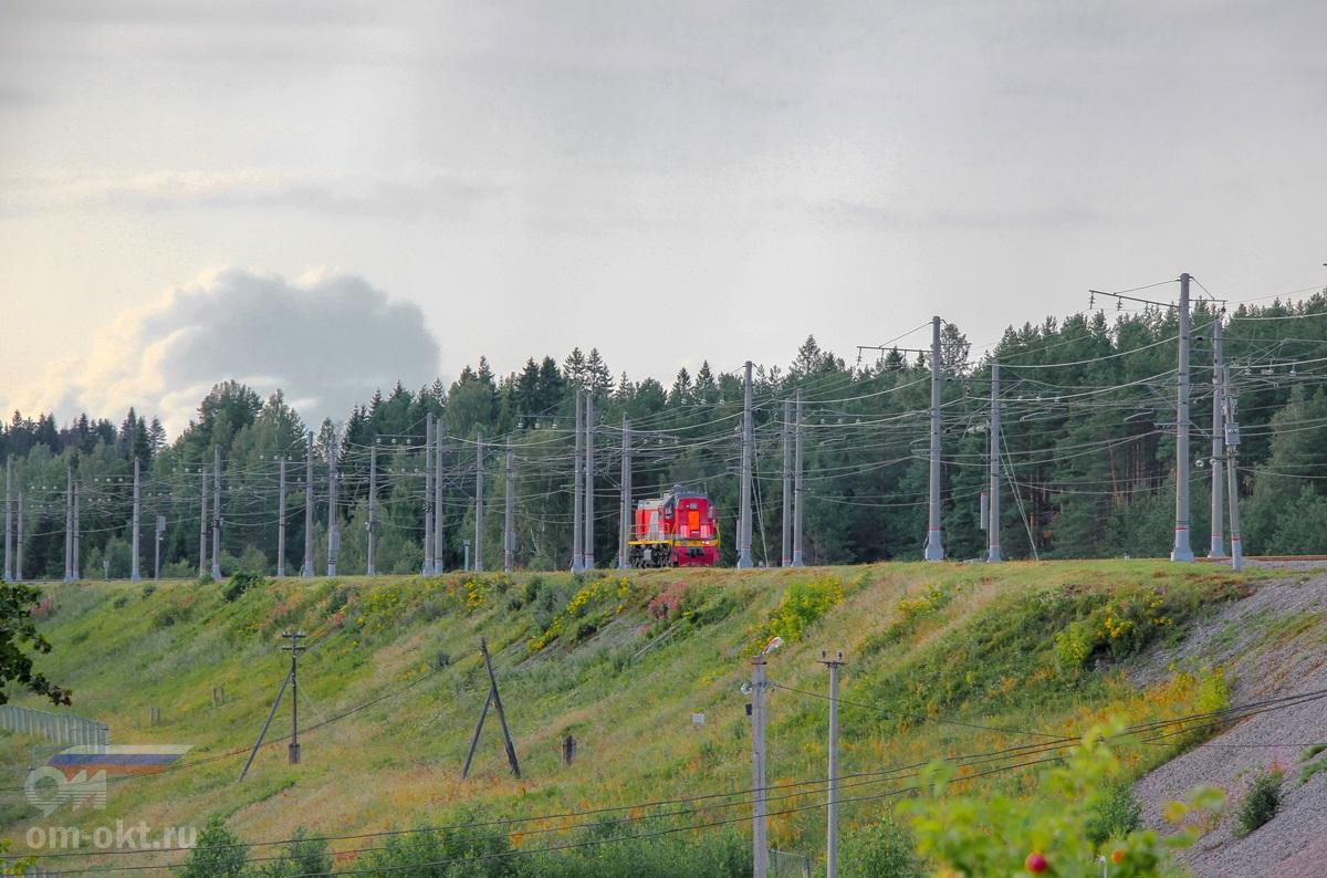 Тепловоз ТЭМ18ДМ в окрестностях Лыкошино, перегон Алёшинка - Угловка