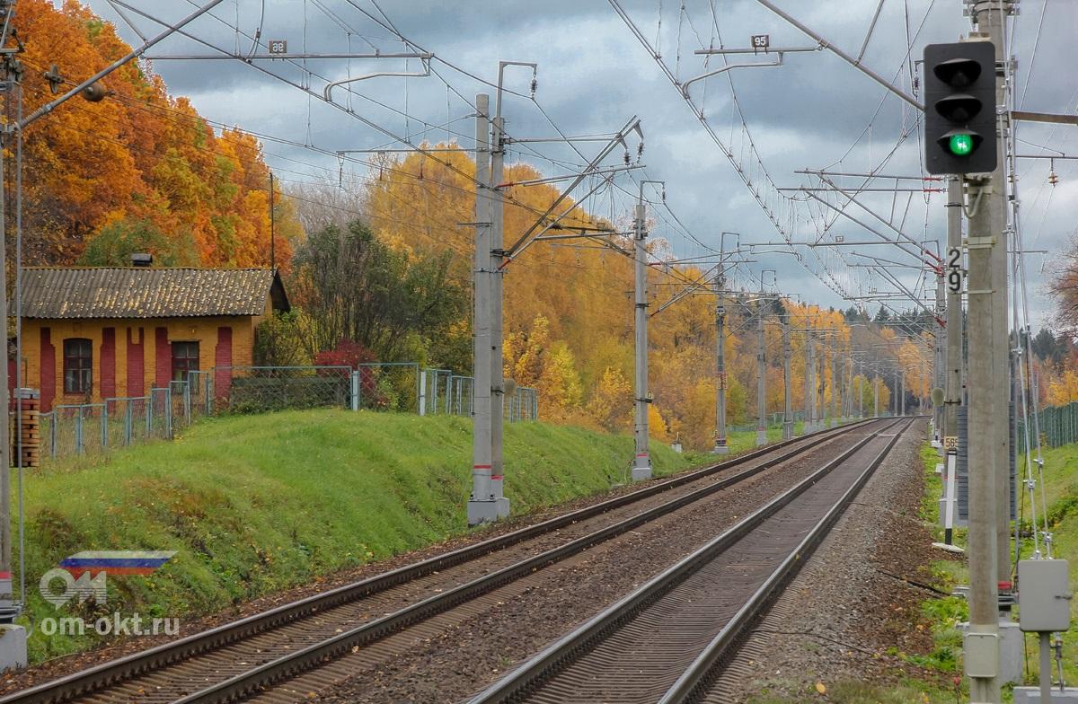 Вид от остановочного пункта Стреглово в сторону платформы Фроловское