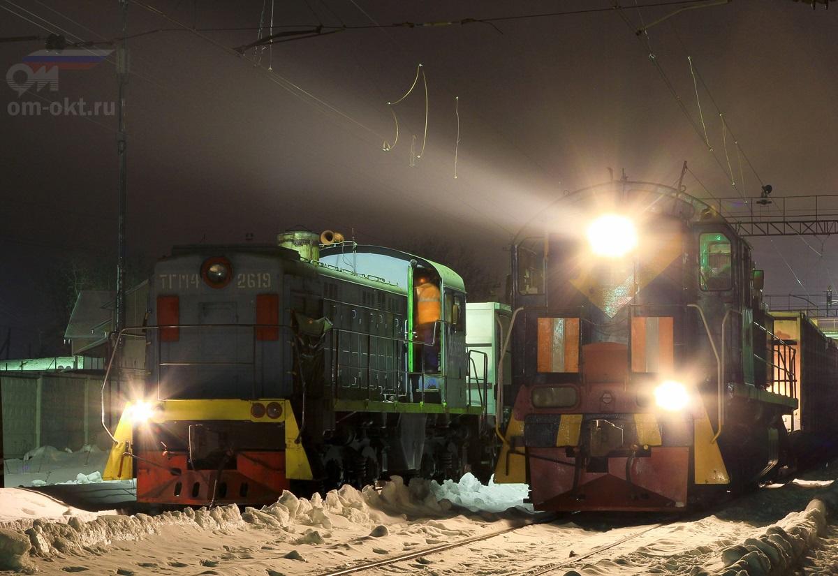 Тепловозы ТГМ4А-2619 и ТЭМ2-6162 на станции Решетниково