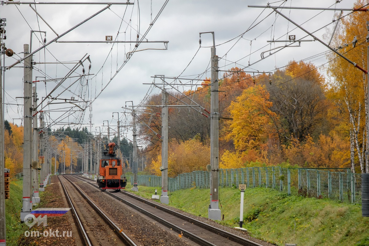 Дрезина АДМ проследует платформу Стреглово