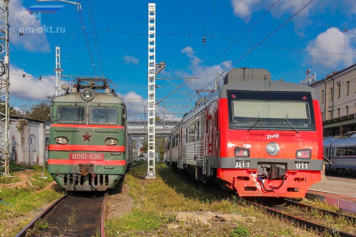 Электровоз ВЛ10-1136 и дизель-электропоезд ДТ1-011 на станции Бологое-Московское